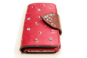 革の手帳型iPhoneケース赤01
