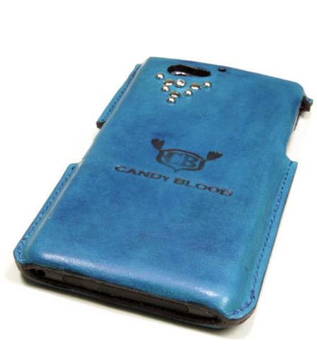 青い革のスマートフォンケース
