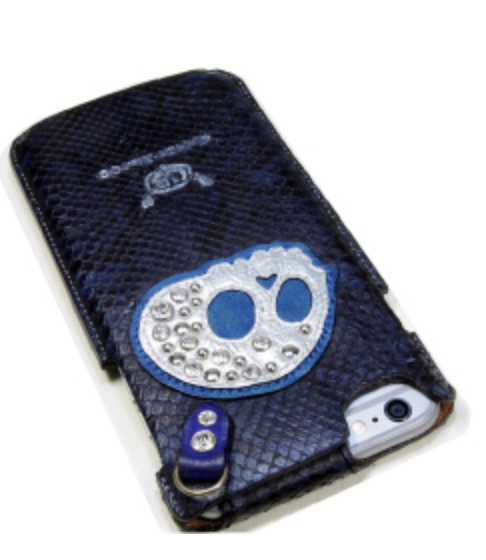 蛇革のハンドメイドのスカルiPhoneケース